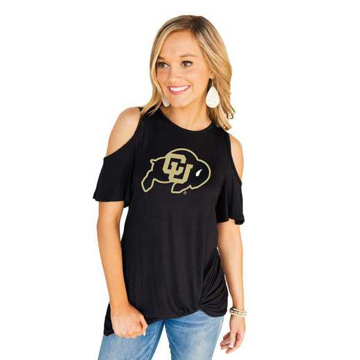 Colorado Buffaloes Get Twisted Cold Shoulder Twist Top by Gameday Couture
