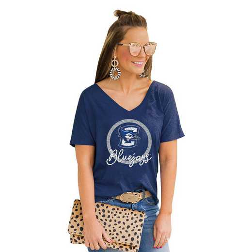 Creighton University Bluejays Long Live Weekend Vibes V-Neck Tee by Gameday Couture
