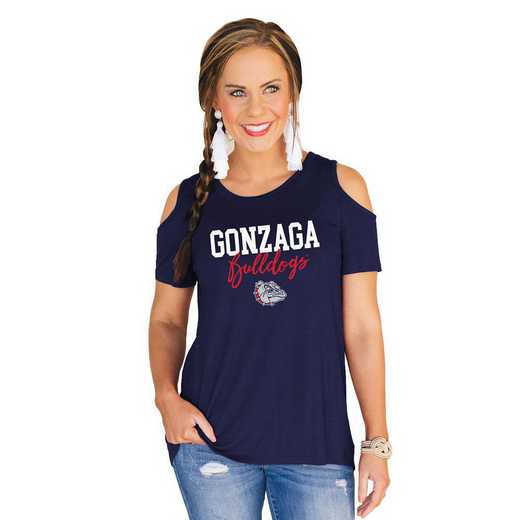 Gonzaga University Bulldogs Forever a Fan Cold Shoulder Top by Gameday Couture