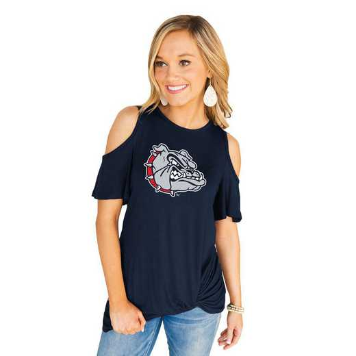 Gonzaga University Bulldogs Get Twisted Cold Shoulder Twist Top by Gameday Couture