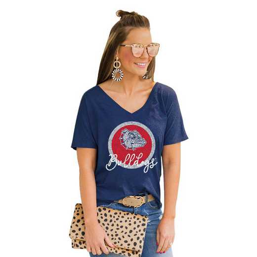 Gonzaga University Bulldogs Long Live Weekend Vibes V-Neck Tee by Gameday Couture