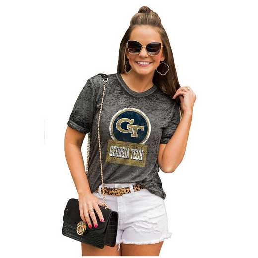 Georgia Tech Yellow Jackets Let The Good Vibes Roll Tee by Gameday Couture