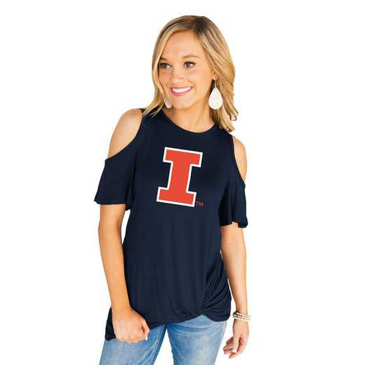 Illinois Fighting Illini Get Twisted Cold Shoulder Twist Top by Gameday Couture