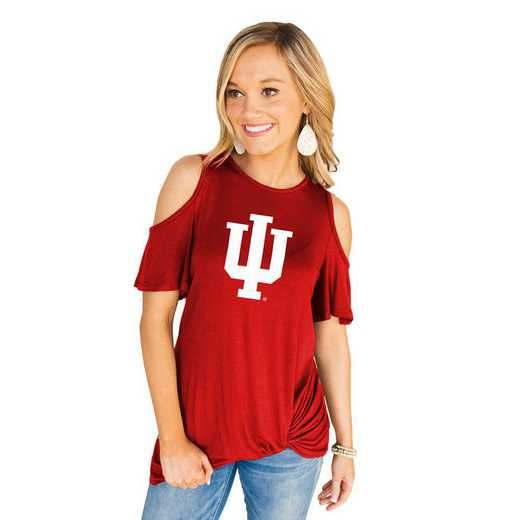 Indiana Hoosiers Get Twisted Cold Shoulder Twist Top by Gameday Couture