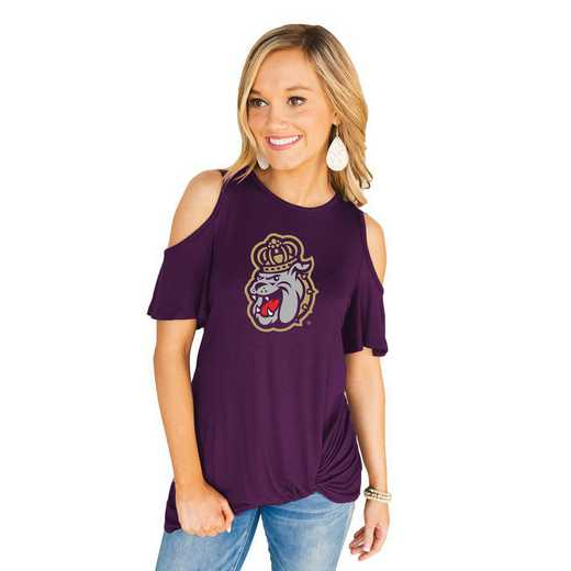 James Madison Dukes Get Twisted Cold Shoulder Twist Top by Gameday Couture