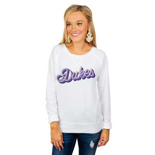 """James Madison Dukes """"Casually Cute"""" French Terry Pullover By Gameday Couture"""