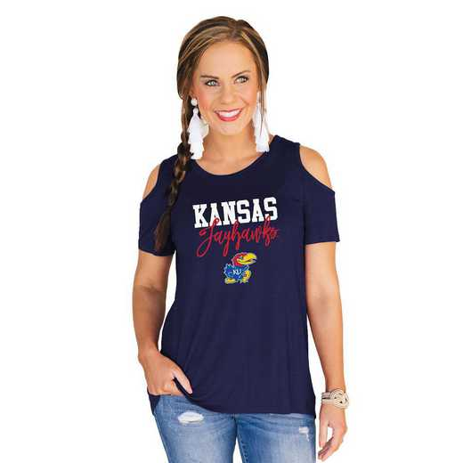 Kansas Jayhawks Forever a Fan Cold Shoulder Top by Gameday Couture