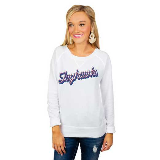 "Kansas Jayhawks ""Casually Cute"" French Terry Pullover By Gameday Couture"