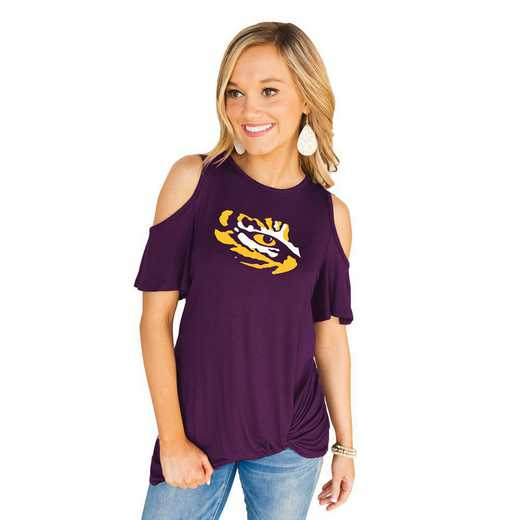 LSU Tigers Get Twisted Cold Shoulder Twist Top by Gameday Couture