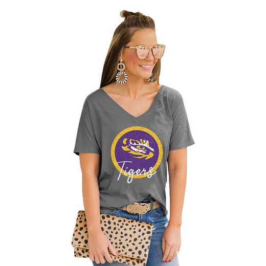 Lsu Tigers Long Live Weekend Vibes V-Neck Tee by Gameday Couture