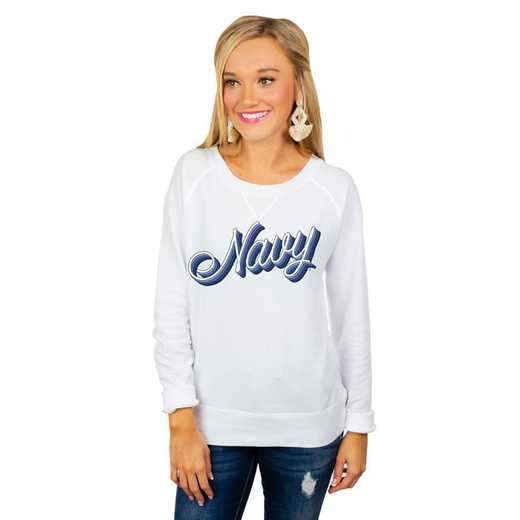 """Navy Midshipmen """"Casually Cute"""" French Terry Pullover By Gameday Couture"""