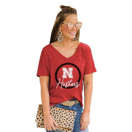 Nebraska Cornhuskers Long Live Weekend Vibes V-Neck Tee by Gameday Couture