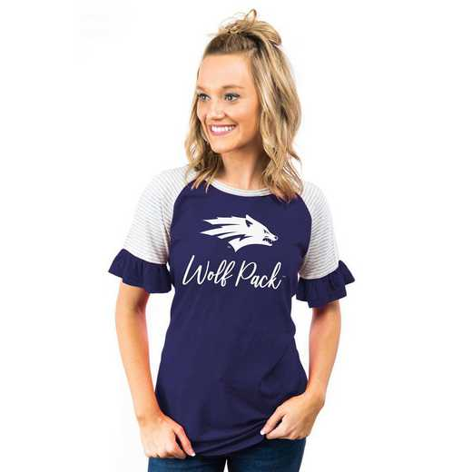 Nevada Wolf Pack Down The Line Ruffle Sleeve Top by Gameday Couture