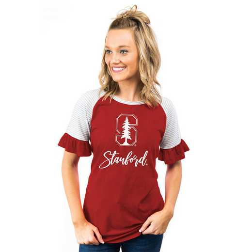 Stanford Cardinal Down The Line Ruffle Sleeve Top by Gameday Couture