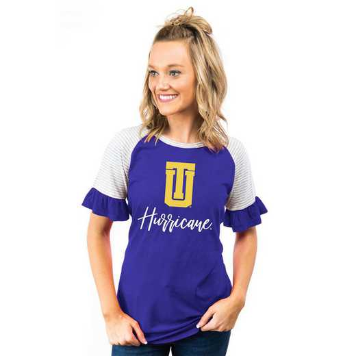 Tulsa Golden Hurricane Down The Line Ruffle Sleeve Top by Gameday Couture