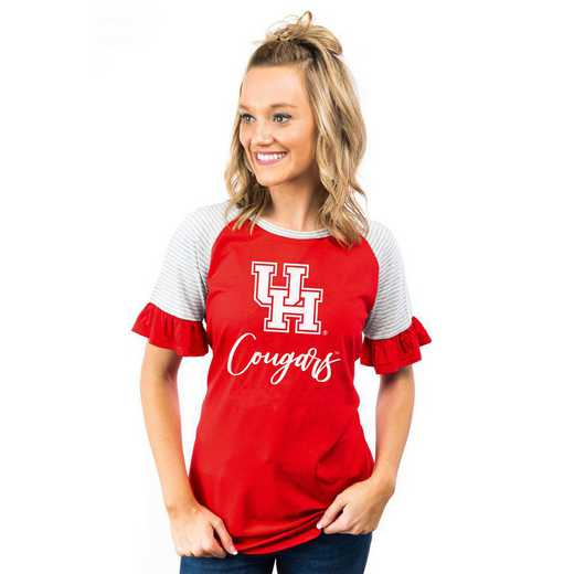 Houston Cougars Down The Line Ruffle Sleeve Top by Gameday Couture