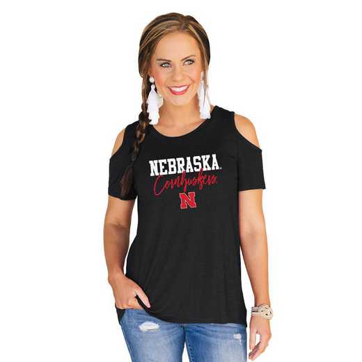 Nebraska Cornhuskers Forever a Fan Cold Shoulder Top by Gameday Couture