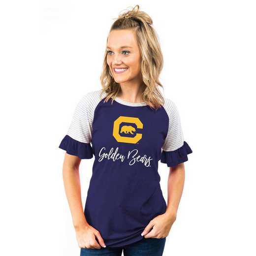 California Golden Bears Down The Line Ruffle Sleeve Top by Gameday Couture