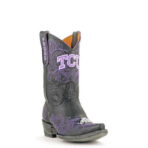 "Women's 10"" TCU Horned Frogs Black Tailgate Cowgirl Boots by Gameday Boots"