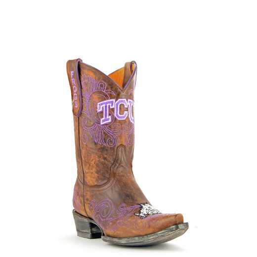 "Women's 10"" TCU Horned Frogs Brown Tailgate Cowgirl Boots by Gameday Boots"