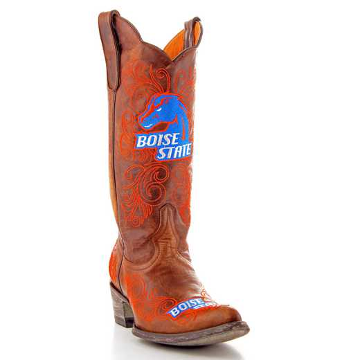 "Women's 13"" Boise State Broncos Brass Tailgate Cowgirl Brass Boots by Gameday Boots"