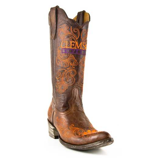 "Women's 13"" Clemson Tigers Brass Tailgate Cowgirl Boots by Gameday Boots"