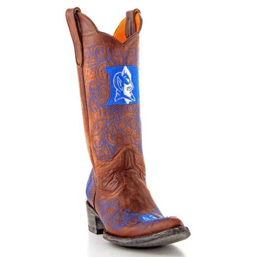 "Women's 13"" Duke Blue Devils Brass Tailgate Cowgirl Boots by Gameday Boots"