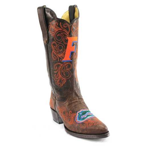 "Women's 13"" Florida Gators Brass Tailgate Cowgirl Boots by Gameday Boots"