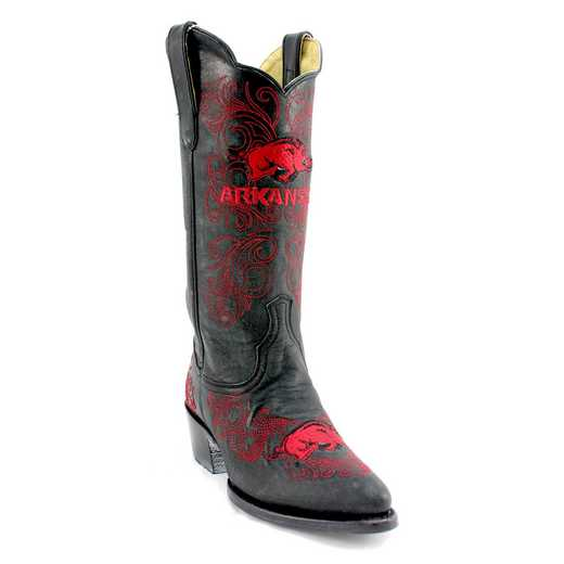 "Women's 13"" Arkansas Razorback Black Tailgate Cowgirl Boots by Gameday Boots"