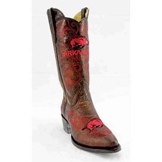 "Women's 13"" Arkansas Razorback Brass Tailgate Cowgirl Boots by Gameday Boots"
