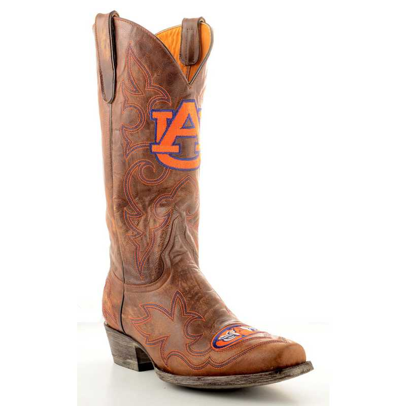 Men's Auburn Tigers Tailgate Brass Cowboy Boots by Gameday Boots