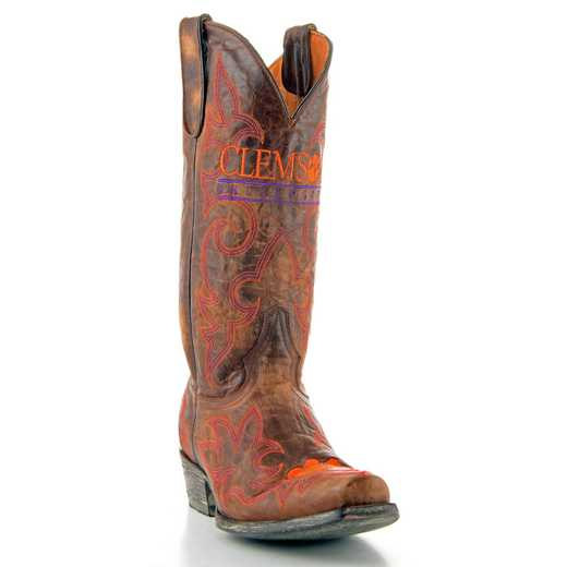 Men's Clemson Tigers Brass Tailgate Cowboy Boots by Gameday Boots