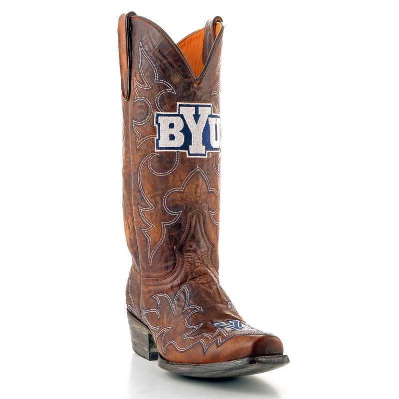 Men's Brigham Young University Cougars Brass Tailgate Cowboy Boots by Gameday Boots