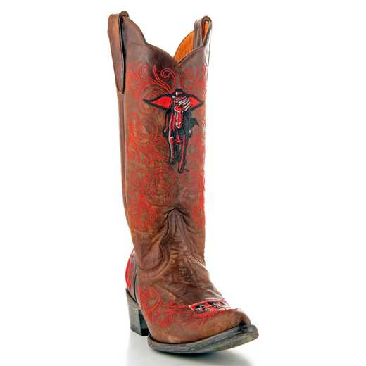 "Women's 13"" Texas Tech Masked Rider Brass Tailgate Cowgirl Boots by Gameday Boots"