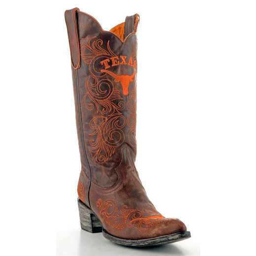 "Women's 13"" Texas Longhorns Brass Tailgate Cowgirl Boots by Gameday Boots"