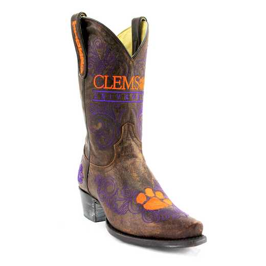 "Women's 10"" Clemson Tigers Brass Tailgate Cowgirl Boots by Gameday Boots"
