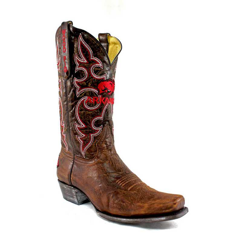 Men's Arkansas Razorback Brass Executive Cowboy Boots by Gameday Boots