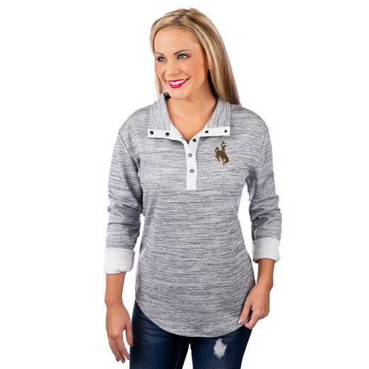 "Wyoming Cowboys ""In a Snap"" Quarter Button Pullover By Gameday Couture"