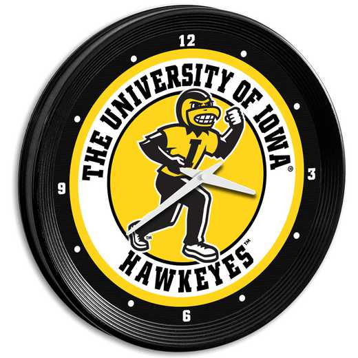 "IA-530-01: GI GI 15"" Team Spirit Ribbed Wall Clock-Herky, Iowa"
