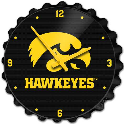 IA-540-01: GI GI Team Spirit Bottle Cap Wall Clock-Tigerhawk, Iowa