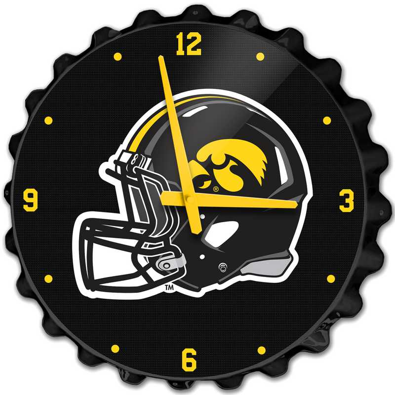IA-540-02: GI GI Team Spirit Bottle Cap Wall Clock-Helmet, Iowa