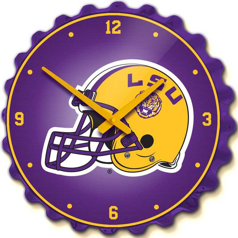 LS-540-02: GI Team Spirit Cap Wall Clock-LSU-Helmet,LSU