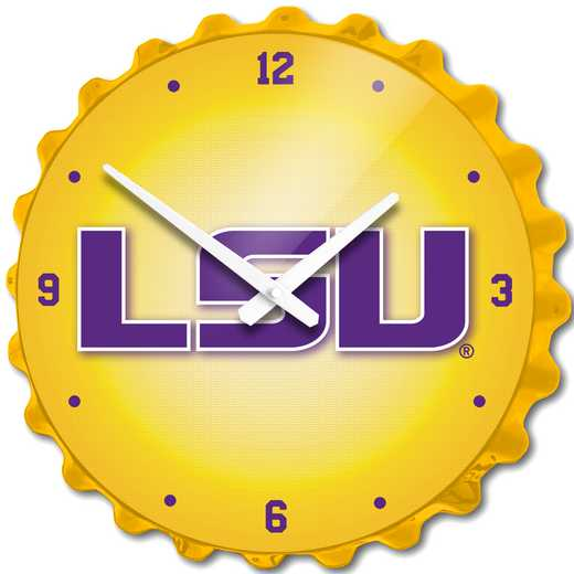 LS-540-03: GI Team Spirit Cap Wall Clock-LSU-Block LSU,LSU