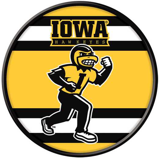 "IA-230-04: GI 17"" Team Disc Wall Sign-Herky Stripes, Iowa"