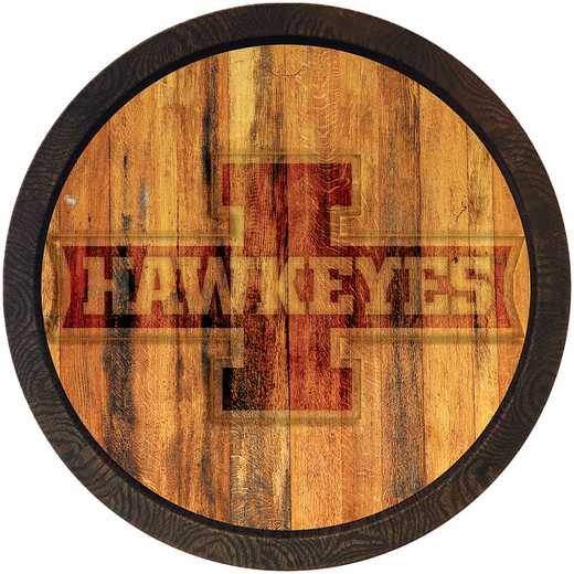 "IA-240-03: GI 20"" Barrel Team Logo Wall Sign-IowaHwky Block I-Color"