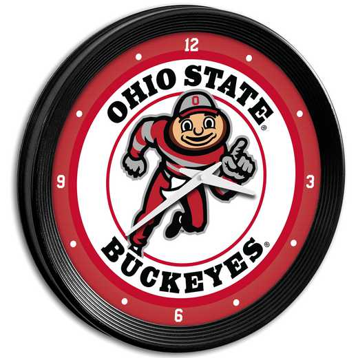 "OS-530-01: GI 15"" Team Spirit Ribbed Wall Clock-Brutus, Ohio St"