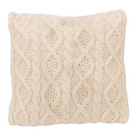 PL5002-OS-CR: HEA Cable Knit Pillow 18x18 - Cream
