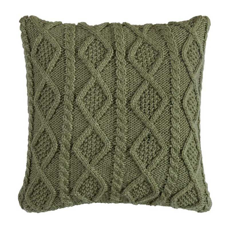 PL5002-OS-GR: HEA Cable Knit Pillow 18x18 - Green