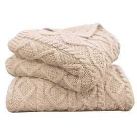 TR5002-OS-CR: HEA Cable Knit Throw 50x60 - Cream