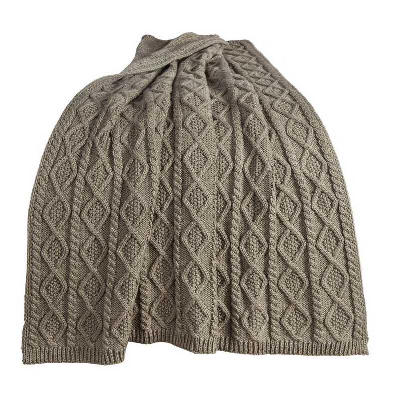 TR5002-OS-GR: HEA Cable Knit Throw 50x60 - Green